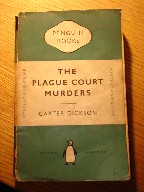 Plague Court Murders, Penguin, pbk, 1951. Story: Plague Court was a large, gloomy house in Holborn, supposed to be haunted by the ghost of Louis Playge, an unpleasant man, who had held the post of hangman's assistant in the first half of the 17th Century. 300 years later in a locked room, murder was committed. A fanatical spiritualist was stabbed whilst invoking the spirits of the dead; and the few clues left behind seemed to prove that no living person could have been responsible. Sir Henry Merrivale, head of the M.I.D for once showed interest and stirred himself to go out and solve this frightening and baffling 'supernatural crime'. Sorry, sold out, but click image to access prebuilt search for this title on Amazon